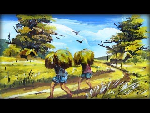Village Scenery Drawing With Acrylic Color Painting Village Village Scenery Drawing S Landscape Paintings Acrylic Poster Color Painting Landscape Paintings