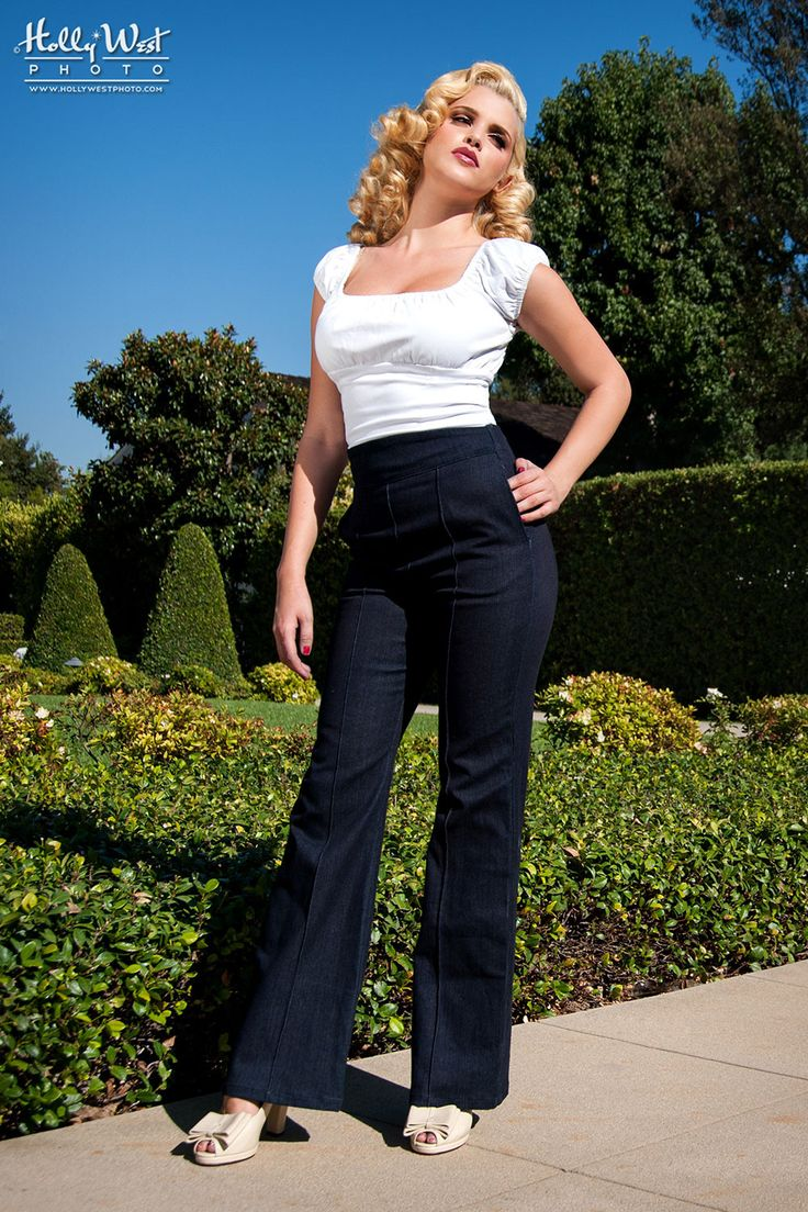 Laura Byrnes Wide Leg Trousers in Stretch Denim
