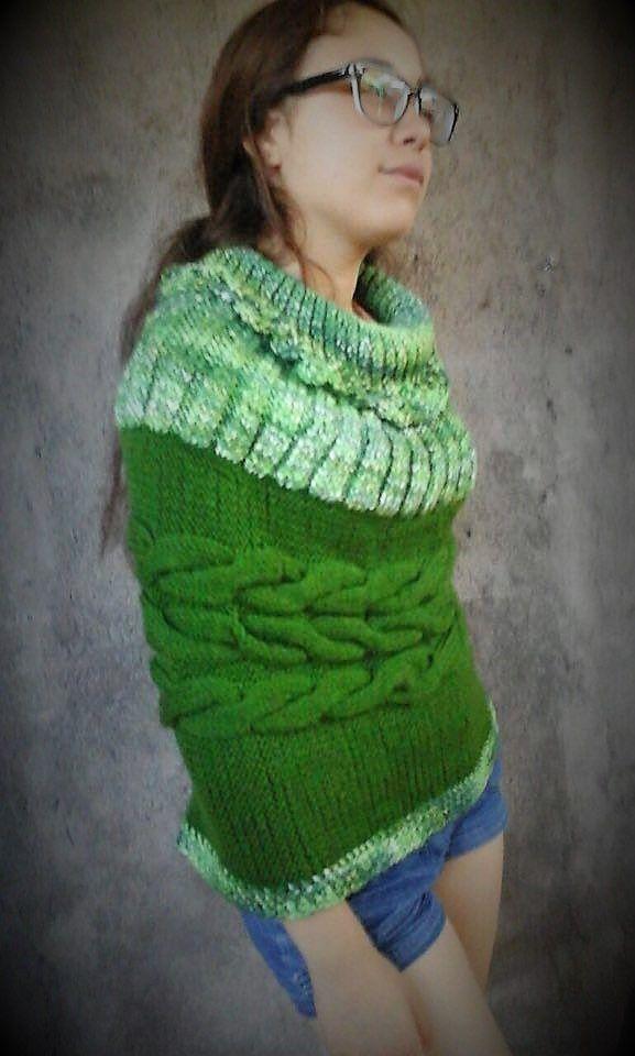 Poncho en Algodon y lana