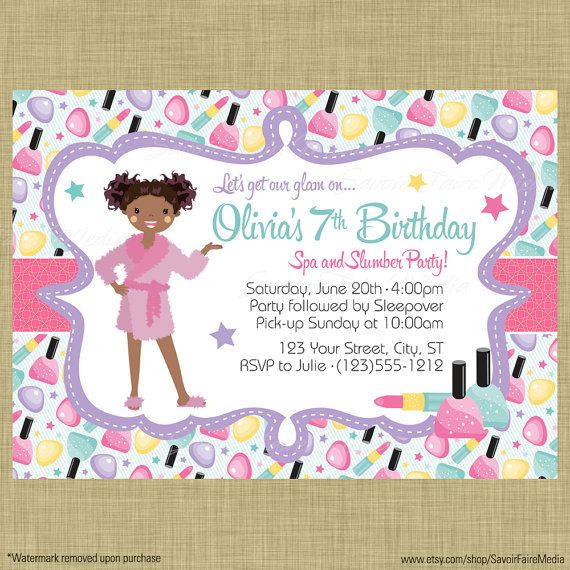 21 best images about Spa and Slumber Party Invitations and Decor – Girls Spa Party Invitations
