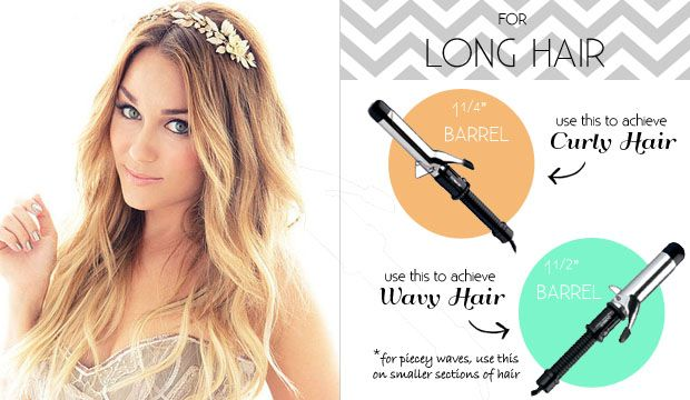 long wavy hair Lauren Conrad.... Right curling iron for your hair length
