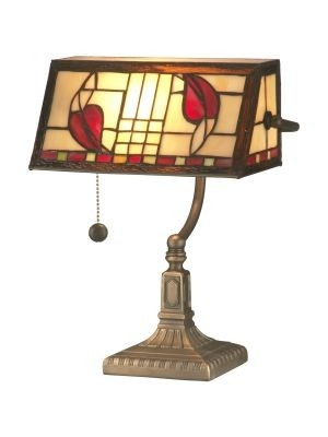 Dale tiffany ta11010 henderson bankers accent lamp in antique brass plating with hand rolled art glass