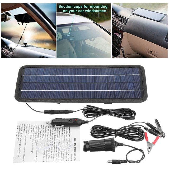 4 5w 12v Battery Charger Usb Portable Boat Car Solar Panel Trickle Outdoor Power Single Crystal Silicon Lightw Car Battery Hacks Car Battery Jump A Car Battery