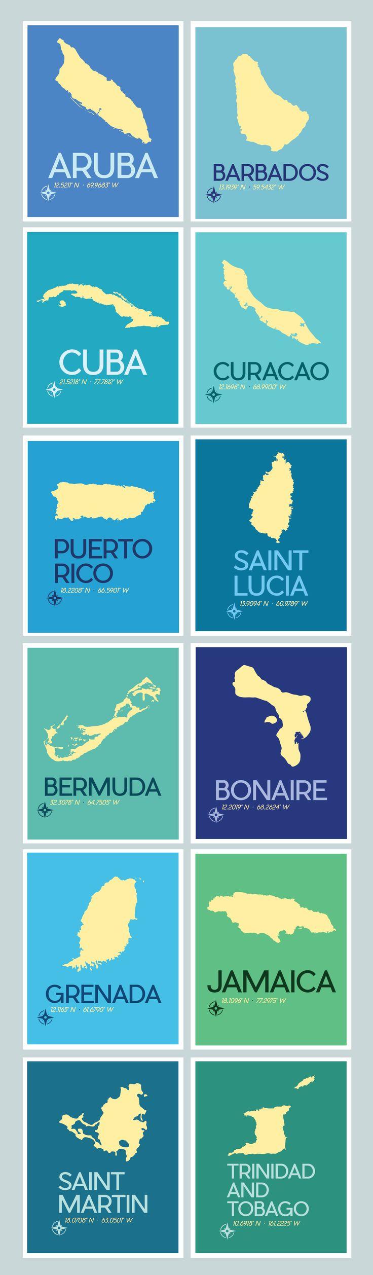 Caribbean Map Prints. Poster for travellers and vacationers. Aruba, Barbados, Cuba, Curacao, Puerto Rico, St. Lucia, Grenada, Bermuda, Bonaire,St. Martin, Trinidad and Tobago. #travel #art