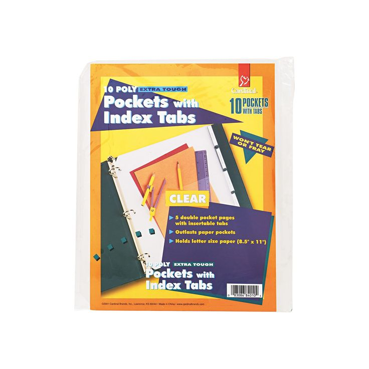 Cardinal Ring Binder Divider Pockets With Index Tabs, 8-1/2 x 11, Clear, 5/Pack, White