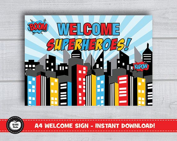 A4 SUPERHERO WELCOME Sign Poster Birthday Party Supplies Printable Party Decoration Superhero Party Decor Backdrop Props Skyline City Scape