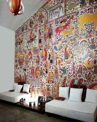 Madhubani wall art Indian homes. Indian decor. Traditional indian interiors. Ethnic decor. Indian architecture. Interior design india. Carved indian furniture. Contemporary indian design. Architect India.