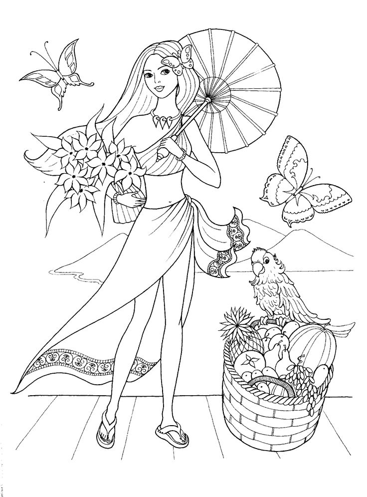 fashionable girls coloring pages 1 - Girls Colouring