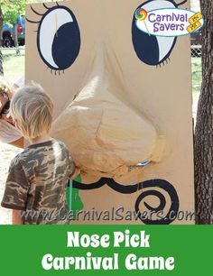 Nose Pick Carnival Game - DIY Game - great for fundraising carnivals, school carnivals and fall festivals too!