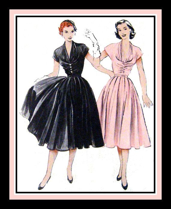 Butterick 6300 Vintage 1952- Gorgeous Party Dress- Sewing Pattern -Lovely Draped Bodice- Cinched Waist -Billowing Circle Skirt- Mega Rare -Collectible