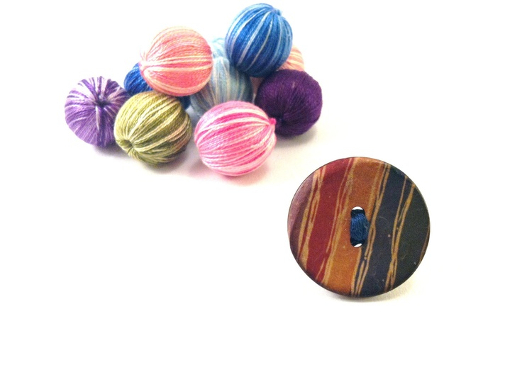 Wooden button ring with colorful stripesFREE 1 if by Mariabuttons