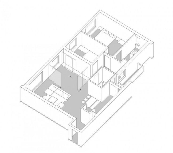 Apartment: Interesting ML Apartment in Hanoi, Vietnam Designed by Le Studio, ML Apartment 3D Layout Plan by Le Studio