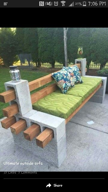 Bench made of concrete blocks