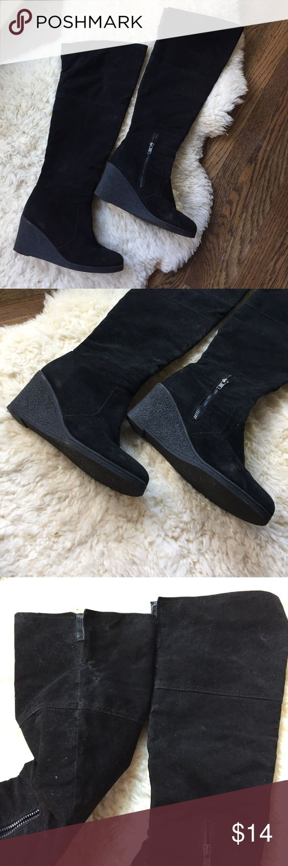 OTK Black Suede Wedge Boot Light wear and super comfy! Forever 21 Shoes Over the Knee Boots