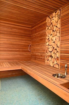 sauna with wood storage. do we need a sink?