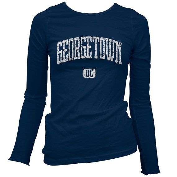 Women's Georgetown D.C. Long Sleeve Tee - S M L XL 2x - Ladies' Georgetown T-shirt, Washington DC - 4 Colors