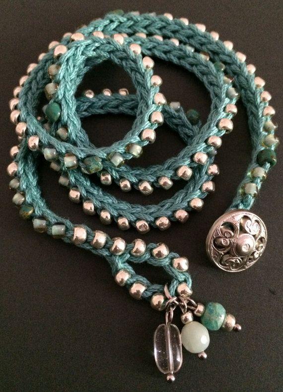 Crochet wrap bracelet / necklace aqua silver by CoffyCrochet