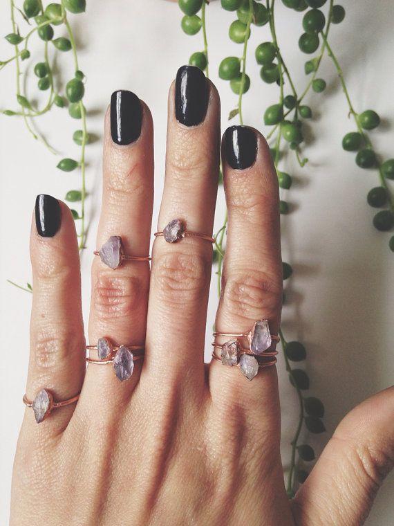 amethyst stacking ring amethyst ring raw amethyst ring crystal ring ring midi ring dainty amethyst ring