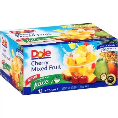 Dole Cherry Mixed Fruit Fruit Cups, 4 oz, 12 ct