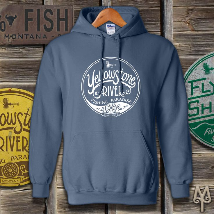 Yellowstone River Fishing Paradise, Hoodie Sweatshirt...This hooded pullover sweatshirt is ideal for Fall fly fishing on the Yellowstone River. The winds may blow, the temperatures may drop, but you'll stay comfortable while making casts in Big Sky Country. Shop now!