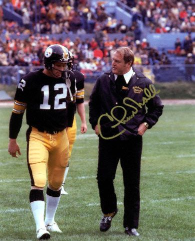 chuck knoll | Chuck Noll Pittsburgh Steelers W/Terry Bradshaw 8X10 Autographed Photo ...
