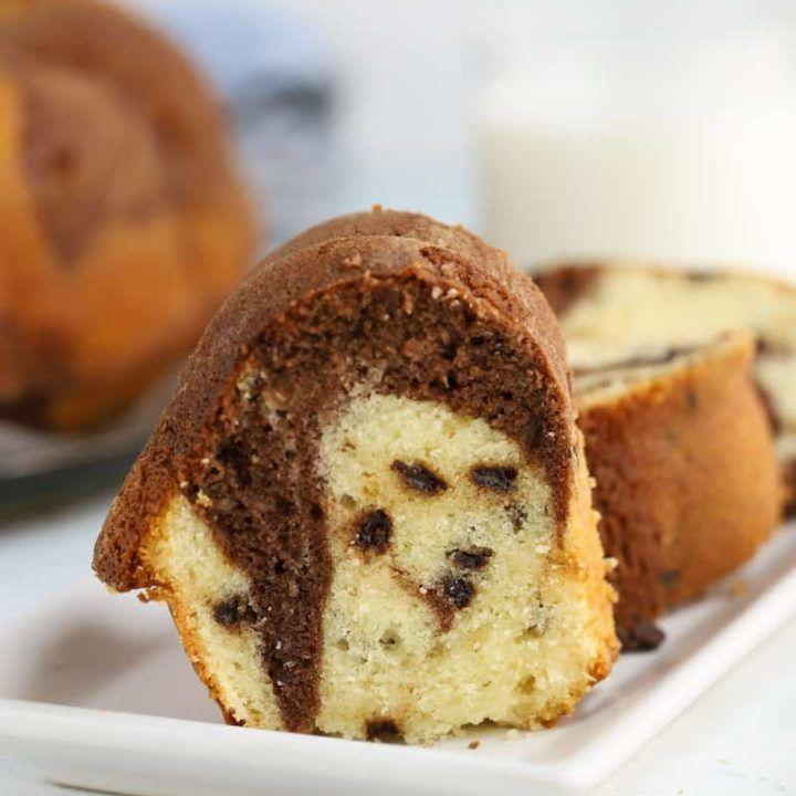 Chocolate Chip Marble Bundt Cake Old Fashioned Sour Cream Recipe In 2020 Sour Cream Recipes Favorite Dessert Recipes Sour Cream Cake