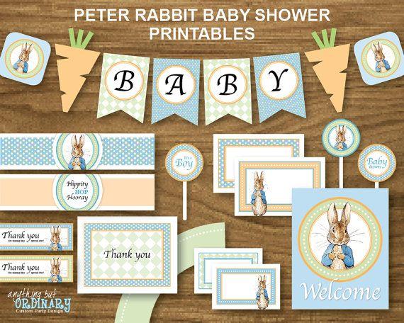 Peter Rabbit Baby Shower, INSTANT DOWNLOAD, DIY Printable Party Package with blue background, digital file