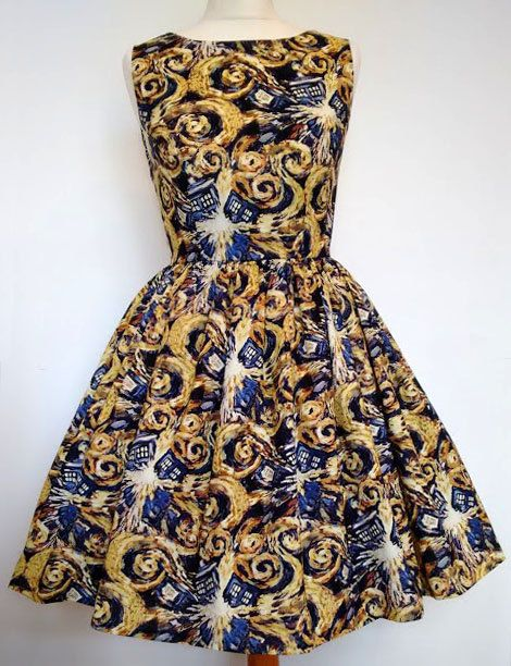 Doctor Who Dress Van Gogh Exploding Tardis Please by Frockasaurus
