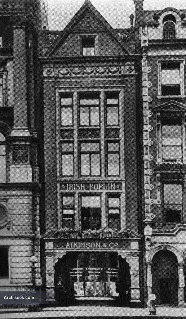 1889 - Atkinsons, No.31 College Green, Dublin. Architect: Sir Thomas Drew Constructed in 1888-89 for poplin manufacturer Richard Atkinson & Co, as a showroom and offices. Demolished in the 1970's to mak