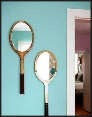 Tennis Mirror   See all 8 DIY projects:  http://myhoneysplace.com/8-neat-diy-projects/