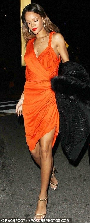 Rihanna Style Orange Dress Dresses Pinterest Orange