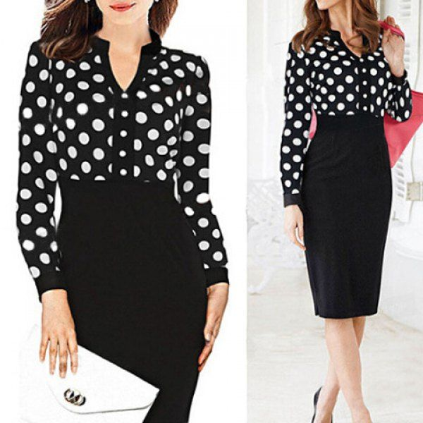 Formal V-Neck Polka Dot Splicing High-Waisted Long Sleeve Dress For Women, BLACK, L in Long Sleeve Dresses | DressLily.com