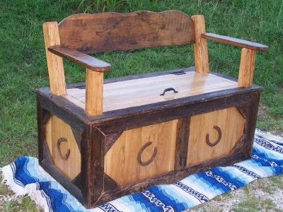 Cutest Handmade Cowboy Toy Box/Bench I have seen yet! I know a certain someone that would love this for her boy.