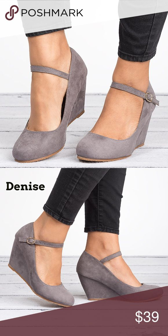 Gray Mary Jane Wedge Pumps-Denise Brand new in box. Comfy for long office days or a night out these wedges are a must have.  Closed round toe front Ankle straps with adjustable buckle closure.  Wedge heel material: Faux Suede Heel height/type: 3-inch Platform Bellamarie Shoes Wedges