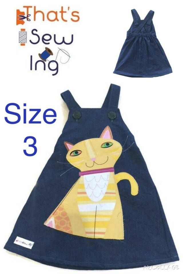 Handmade by That's Sew Ing Size 3 applique pinny