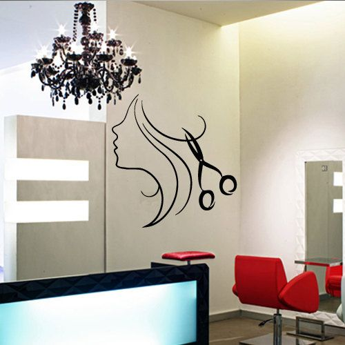 Wall decal decor decals art hair salon curl scissors for Salon pictures for wall