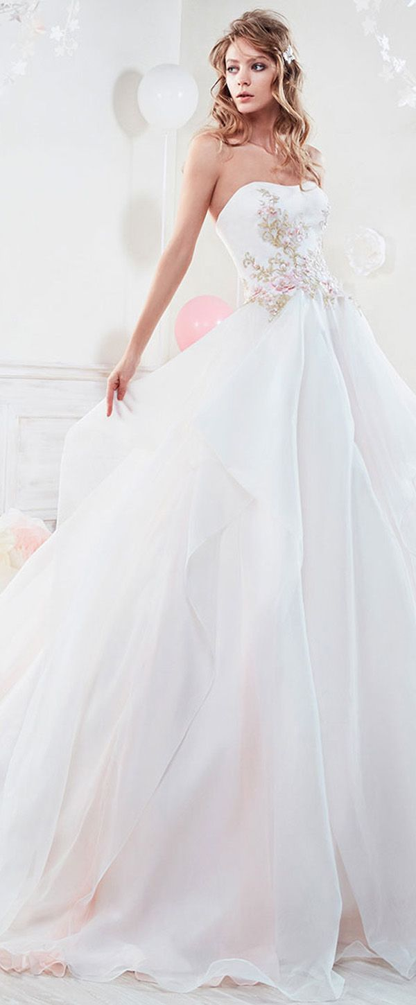 Exquisite Organza Strapless Neckline A-Line Wedding Dresses With Lace Appliques & Beadings