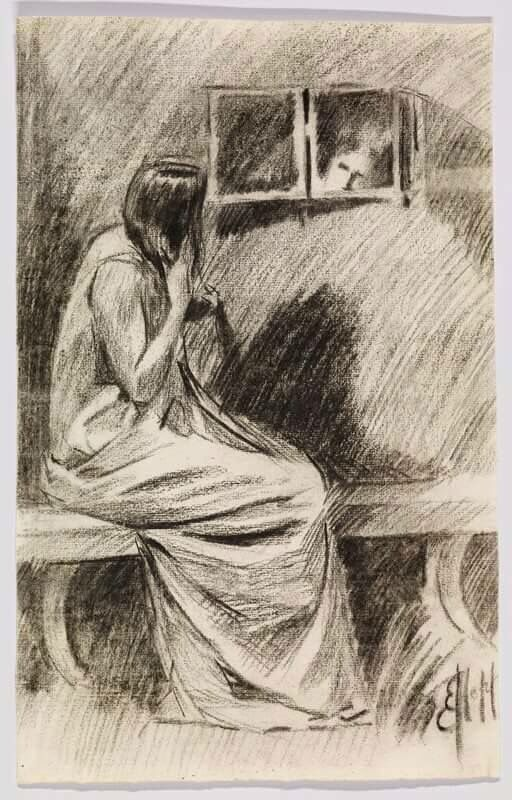 Study of a woman styling hair 1909 Edward Hopper