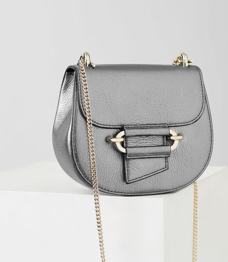 REISS MALTBY MINI MINI CROSS-BODY BAG SILVER. #reiss #bags #shoulder bags #leather #metallic #