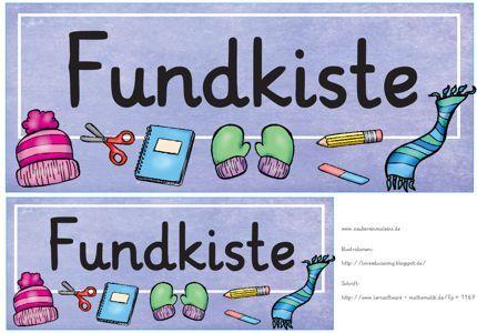 Klassenzimmergestaltung in der Grundschule: Fundkiste Schild