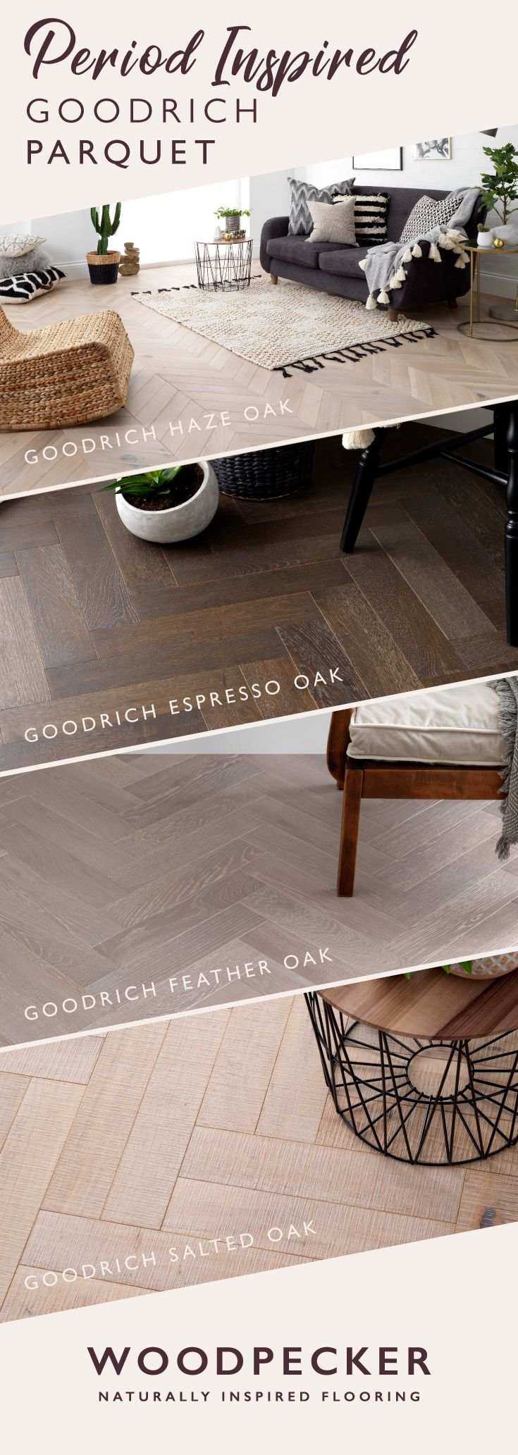 Fall in love with the period inspired designs of the Goodrich parquet collection. Get free flooring samples at our website.