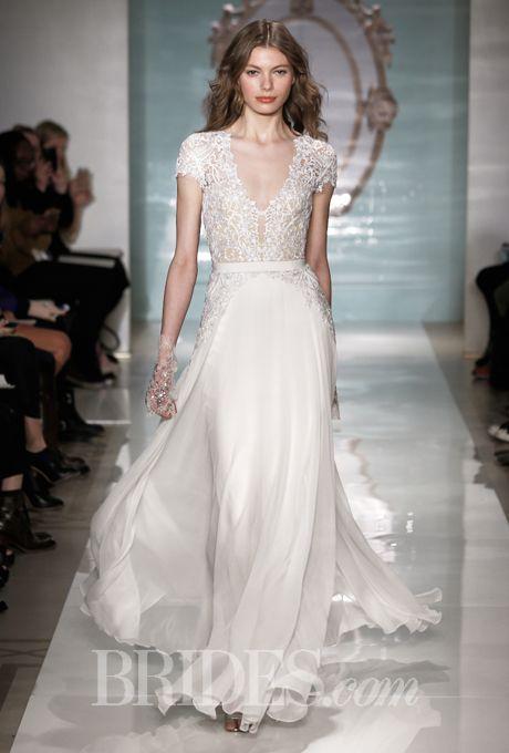 Brides.com: Reem Acra - Spring 2015. Embroidered chiffon A-line wedding dress with a v-neckline and short sleeves, Reem Acra