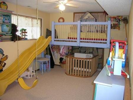 indoor play loft with 8 foot slide - Bedroom Play Ideas