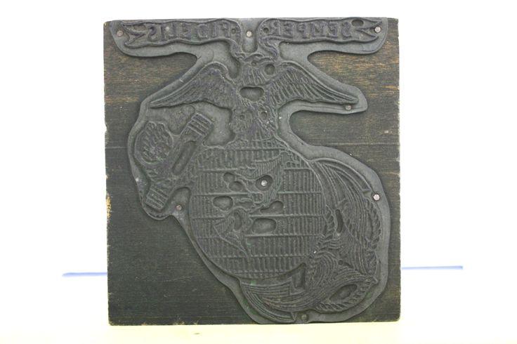 US Marines Semper Fidelis Emblem Letterpress Stamp.               #Marines #Semper #Fidelis #Emblem #Letterpress #Stamp #Block