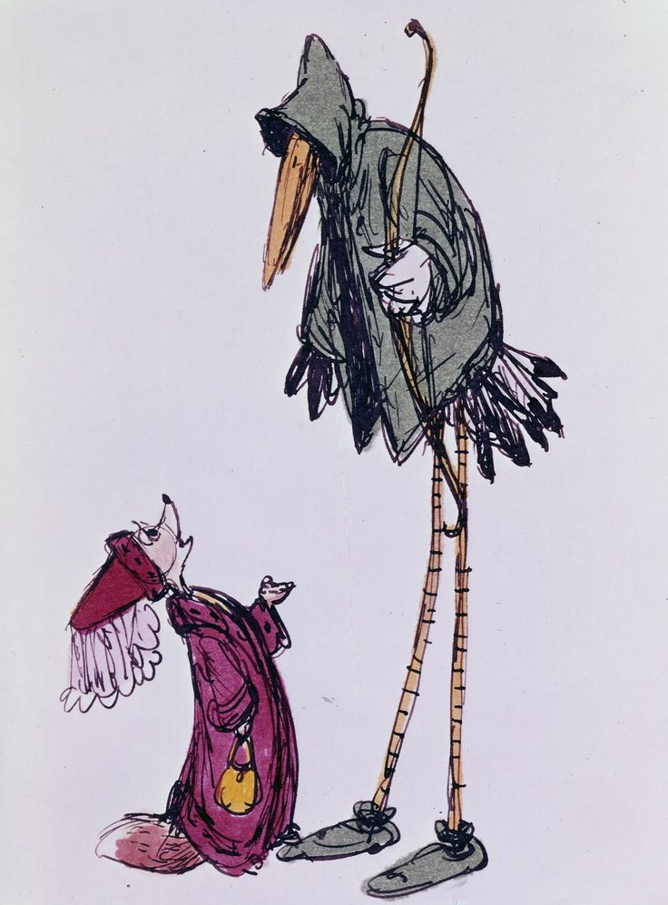 Robin Hood as a stork by Ken Anderson.