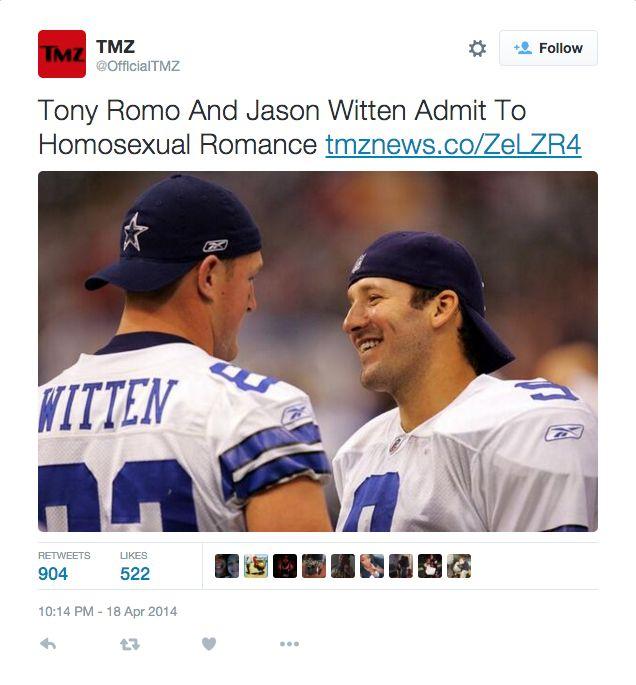 Tony Romo and Jason Witten Admit to Romantic Relationship-Fiction ...