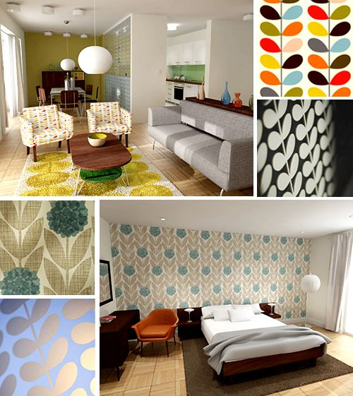 simple orla kiely interiors love the idea of using a burst of color on one wall or in a small. Black Bedroom Furniture Sets. Home Design Ideas