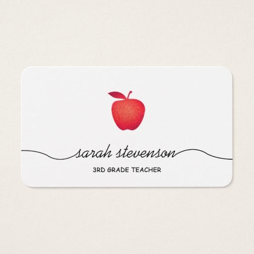 Red Apple School Elementary Teacher Simple White Business Card
