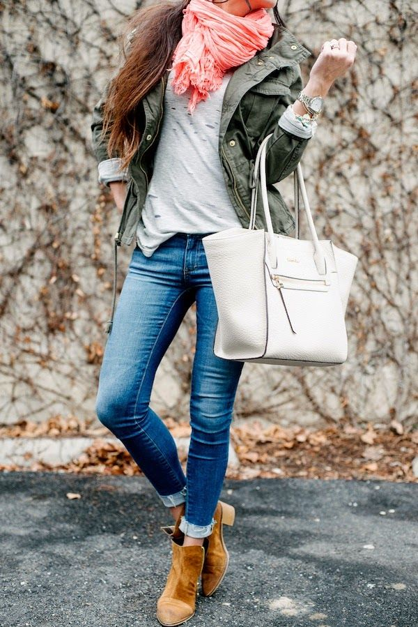Robyn Vilate: Comfy layers- olive jacket, ivory purse, coral scarf