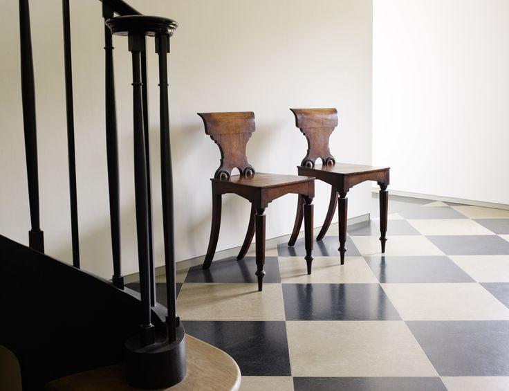 The Barns. C18th English mahogany hall chairs.